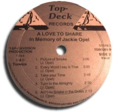 Jackie Opel - A Love To Share - label