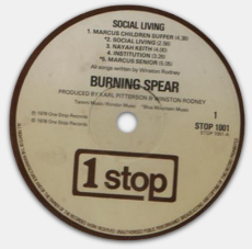 Burning Spear - Social Living - One Stop - 1978