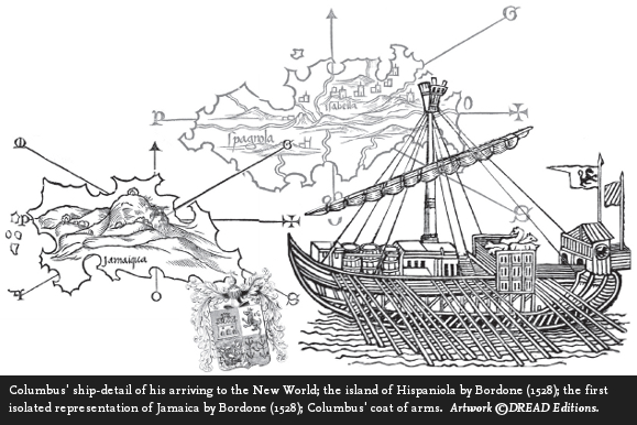 Columbus ship arriving to the New World